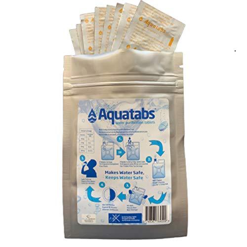 Aquatabs Blueahead 100 x 8,5 mg World's # 1 tabletas de tratamiento de purificación de agua NaDCC Prepper Army Hiking 1 tableta = 1-2 l (1 paquete)