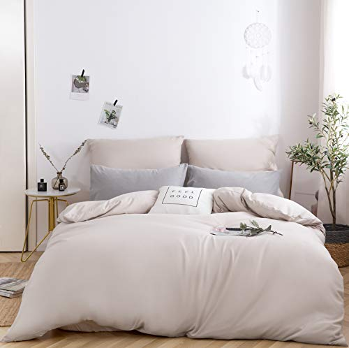 MOHAP Duvet Cover Set 3 PCS Double Plain Brushed Microfiber Bedding Duvet Cover with Pillowcases Cream/Beige