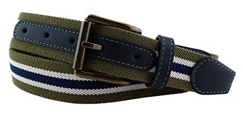 TigerTie hochwertiger Stretchgürtel mit Edelstahl Schnalle und echt Leder Applikationen in oliv grün dunkelblau weiß gestreift. Gürtelbreite 35 mm, Bundweite 90 cm