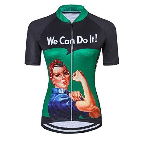 PSPORT Traje de ciclismo para mujer manga corta con 3D acolchado Ciclismo Pantalones cortos transpirable bolsillo camisa, Cd7028, M