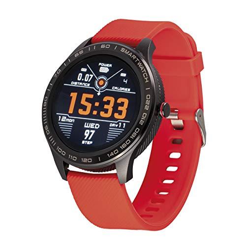 Atlanta Fitnesstracker mit Herzfrequenz Puls Blutdruck Schlaf Schritte Farbdisplay Smartwatch Armband Uhr - 9708 (Rot)