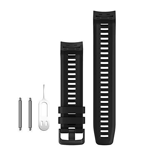 Digit.Tail 22mm Silikon Armband Ersatzband Replacement Wechselarmband Sport Uhrenarmband mit Federstäben und Entfernungswerkzeug Zubehör für Garmin Instinct/Tactical Edition Smartwatch (Schwarz)