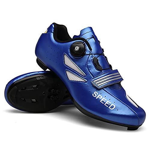 DSMGLSBB Zapatos De Ciclismo para Hombre, Zapatos De Bicicleta De Carretera No Deslizables Transpirables, Compatibles SPD Fuero Delta Zapatos De Ciclismo Interior,Azul,47