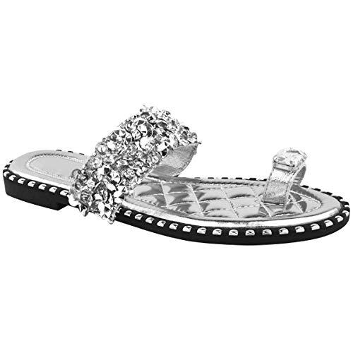Fashion Thirsty Mujer Tacón bajo Plano Sandalias Diamante sin Cordones Boda Fiesta Bling Deslizables por Heelberry