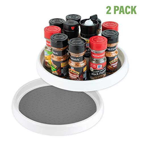 Homeries Lazy Susan Turntable 9 Inch - Single Round Rotating Kitchen Spice Organizer for Cabinets Pantry Bathroom Refrigerator - Non-Skid Surface Rimmed Edge - Pack Of 2