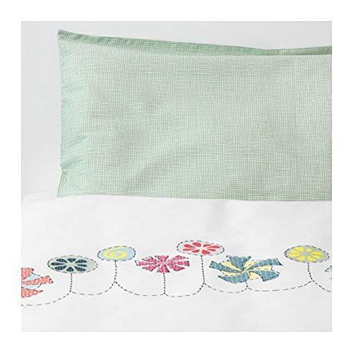 IKEA Bussig Crib Duvet Cover Pillowcase Multicolor Green 403.654.46 Size 43x49/14x22