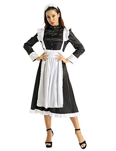 YiZYiF Damen Vintage Dienstmädchen Kostüm Viktorianisch Maid Cosplay Schürze Kleider Partykleid Zimmermädchen Kostüm mit Kopfbedeckung Schwarz X-Large