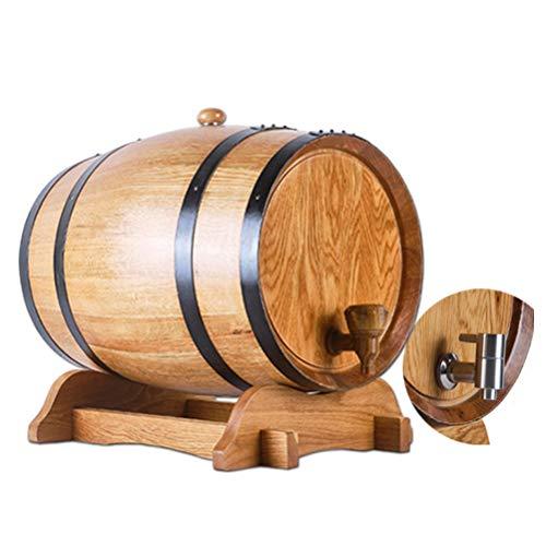 Barril de Roble, Barril de Madera 5L, Barril de Vino Tostado Sin Revestimiento, para Almacenamiento o Envejecimiento de Vinos y Licores Barriles de Vino Porta Vino (Size : 5L)