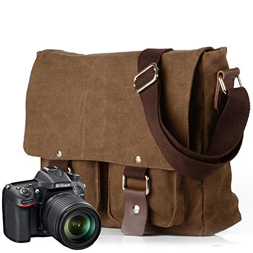 Peacechaos Men's Lightweight Vintage Waterproof Canvas DSLR SLR Shockproof Camera Shoulder Messenger Bag Sliing Bag Compatible for Canon Sony Nikon