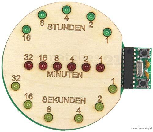 matches21 Binäre Uhr Bausatz mit USB-Anschluss Lötbausatz & Holz vorgefertigt LED Anzeige Elektrobausatz Bastelset