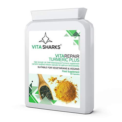 VitaRepair Turmeric Plus Capsules with 95% Curcumin & Black Pepper Extract. Potent Vegan Anti-Inflammatory, High Strength Targeted Release Immune Boost