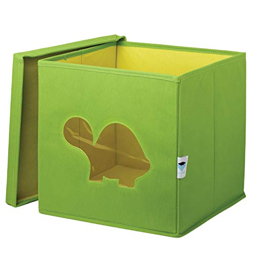 STORE.IT 750060 - Cesta per Giocattoli con finestrella a Forma di Tartaruga, 30 x 30 x 30 cm, Colore: Verde