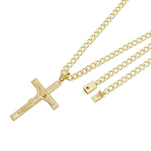 Pingente Crucifixo Com Corrente Grumet Fecho Gaveta Folheado a Ouro 18k