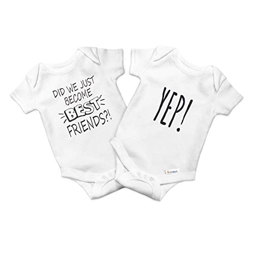 TWINSTUFF Identical Twin Onesies for Girls & Boys - for Newborn Born Identical and Fraternal Twins. Set of Onesies 0-3 Month Sizes
