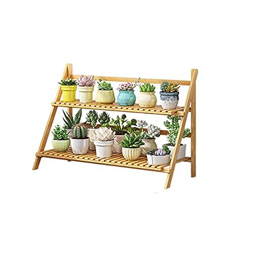 YILANJUN Soporte para Plantas Plegable Bambú, Soporte para Macetas, Estantería de Flores...
