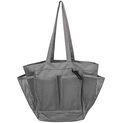 Utopia Alley Mesh Portable Shower Caddy, Quick Dry Shower Tote Bag, Bathroom Organizer Bag, Gray Color. Perfect for Dorm, Gym, Bath with Handles.