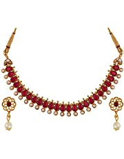 Archi Collection Gold Plated Bridal Pearl Choker Necklace Earrings Jewellery Set