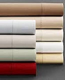 Hudson Park Fitted Sheet Cal King 100% Pima Cotton 500 Thread Count (Cal King, DARK RED)