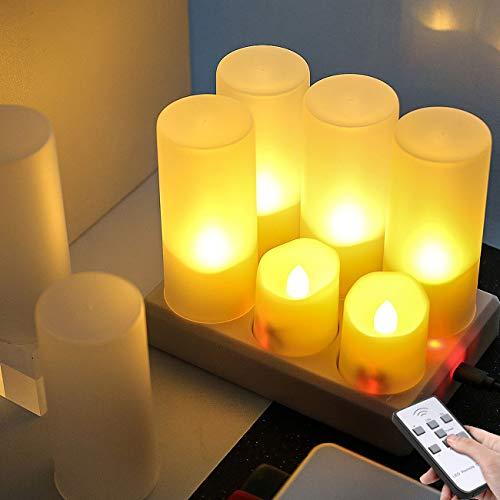 LED flammenlose kerzen,6er Wiederaufladbare LED Teelichter Kerzen mit Fernbedienung, aufladbare teelichter mit Timer Ladestation Warmweiß für Heimdekoration,Weihnachten, Party, Hochzeit Decor Kerzen