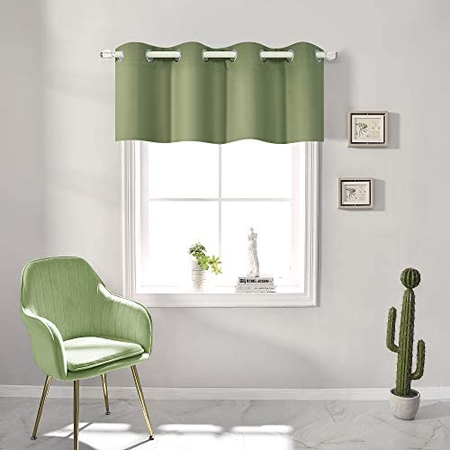 Sage Green Blackout Valances for Windows Treatment 18 Inch Length Solid Thermal Insulated Grommet product image