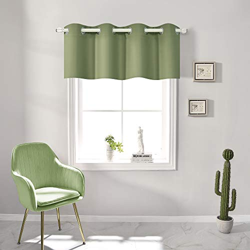 Sage Green Blackout Valances for Windows Treatment 18 Inch Length Solid Thermal Insulated Grommet Top for Bedroom and Bathroom Curtains Valance for Small Windows 1 Panel 52X18 Inch