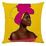 Sylar Fundas Decorativas para Fundas de Almohada Perfil de una Hermosa Mujer Africana Dibujado a Mano Étnico Rojo Cabello...