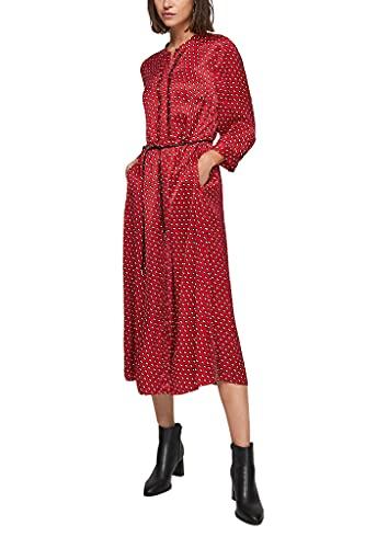 s.Oliver BLACK LABEL Damen Blusenkleid aus Viskose-Satin red AOP 46