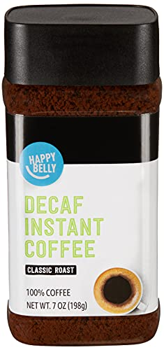 Amazon Brand – Happy Belly Classic Roast Decaf Instant Coffee, 7 Ounces