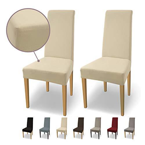 SCHEFFLER-Home Stretch Stuhlhusse Natalie   2er Set elastische Stuhlabdeckungen aus Baumwolle   Stuhlhussen Schwingstühle   Spannbezug mit...