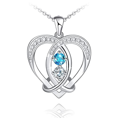 Celtic Knot Heart Necklace for Women Girls Sterling Silver Mother Daughter Necklaces Heart Pendat Jewelry for Mother Daughter Wife Girlfriend Grandmother