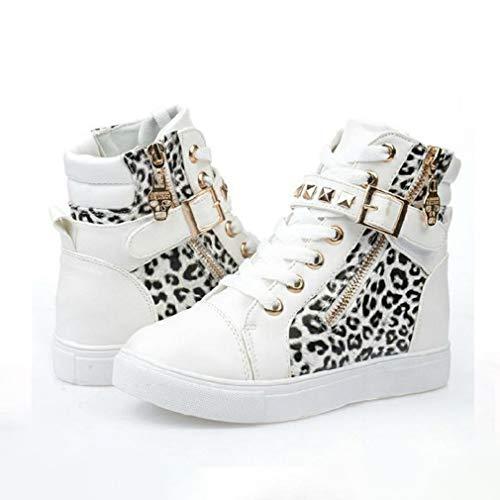 Zapatos de lona con cremallera lateral para mujer, zapatos de moda de aumento de alta calidad, transpirables, ligeros, suaves, resistentes al desgaste, color blanco 2,39