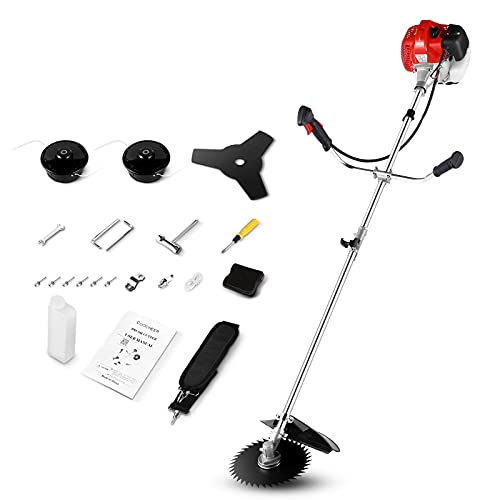 COOCHEER 58cc Brush Cutter Gas Powered Weed Eater 4-in-1 Weed Wacker Straight Shaft String Trimmer with 2 Detachable Head for Grass,Weed(2021 Upgrade)