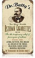 なまけ者雑貨屋 Asthma Cigs メタルプレート アンティーク な ブリキ の 看板、レトロなヴィンテージ 金属ポスター