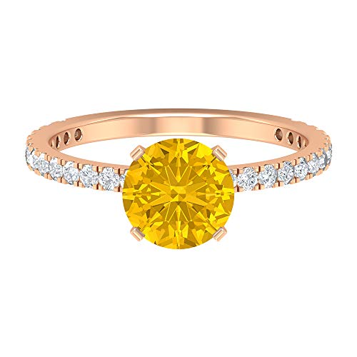 7.5 MM Lab Created Yellow Sapphire Ring, D-VSSI Moissanite Engagement Ring, Solitaire Ring with Side Stone, Gold Wedding Ring, 14K Rose Gold, Size:UK U