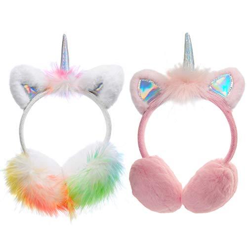 2-Pack Kids Girls Unicorn Horn Fleece Earmuffs Earwarmer Adjustable Winter Ear Muffs for Children 3-14 Years (A-Set)