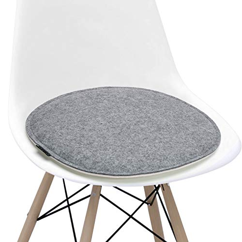 Welaxy Felt Chair Pads seat Cushion Minimalism Lifestyle for Eames Chair DSW Plastic Chairs Pads for Office Indoor Home Dining Kitchen Oval Shape (White +Grey, 1)