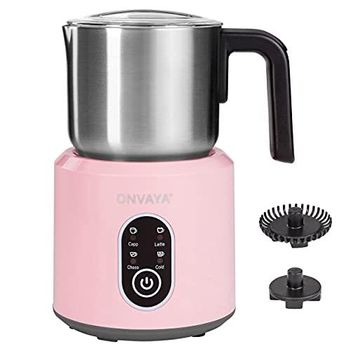 ONVAYA® Elektrischer Milchaufschäumer | rosé | automatischer Milchaufschäumer | aus hochwertigem Edelstahl | spülmaschinenfester Milchbehälter | zum Aufschäumen & Erwärmen | für heiße & kalte Milch