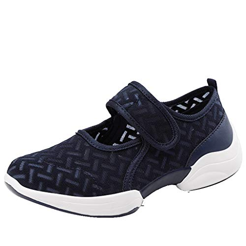Women Walking Shoes, Flats Mesh Round-Toe Light Sneakers Breathable Sports Shoes