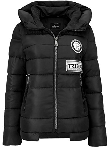 Trisens Damenjacke Winter STEPP Jacke Designer Kapuze DAUEN Optik KURZ Mantel, Farbe:Schwarz, Größe:L