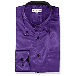 [ドレスコード101] 光沢感が上質さを物語る しなやかサテンシャツ 結婚式やパーティー、2次会に使える STNS01-02-3782 メンズ パープル 日本 S (日本サイズS相当)