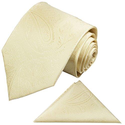 Paul Malone Krawatten Set 2tlg Krawatte + Einstecktuch creme paisley Hochzeitskrawatte Bräutigam