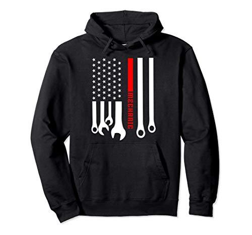 Mechanic Engineer Mechanist Garage American Flag Gift Idea Pullover Hoodie