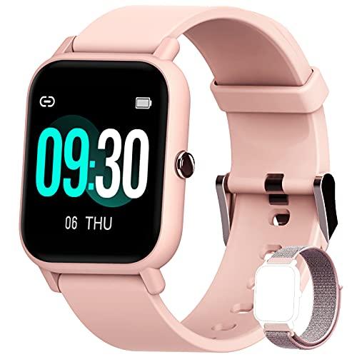 Blackview Relógio inteligente para telefones Android compatível com iPhone Samsung, relógio fitness com oxigênio no sangue e ritmo cardíaco, pedômetro à prova d'água de 5 ATM, relógios inteligentes para homens e mulheres (2 bandas)