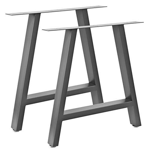 V2Aox Tischbeine Tisch Metall Tischbein Esstisch Tischgestell Schreibtisch Set Füße Möbel Tischkufen Couchtisch Schwarz Stahlgrau Industriedesign Auswahl, Modell:Stahlgrau hoch - 70 x 72 cm