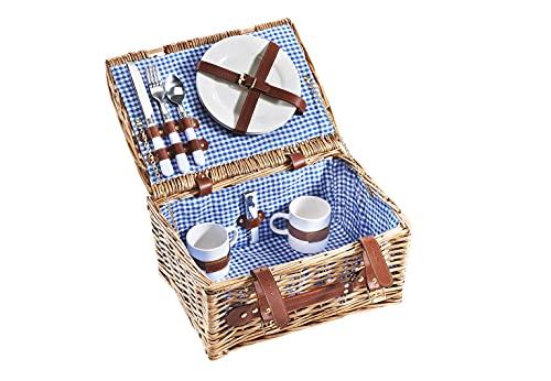 Kobolo Picknickkorb Picknickkoffer -für 2 Personen- Weide - kariert blau - 36x27x18 cm