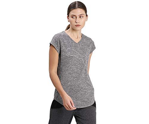 PUMA Train Favorite tee Camiseta, Mujer, Black Heather/Cat Outline, L