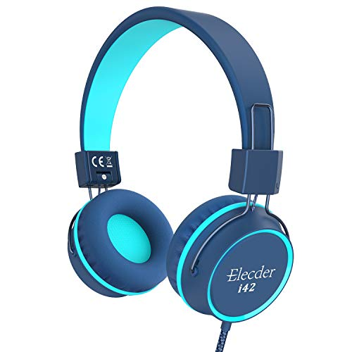 Elecder i42 Kids Headphones, Safe Volume Limited 85dB, Foldable Adjustable On Ear Headphones, 3.5mm Jack Compatible with iPad, Cellphones, Computer, MP3/4 Kindle Tablet Airplane School (Blue/Teal)