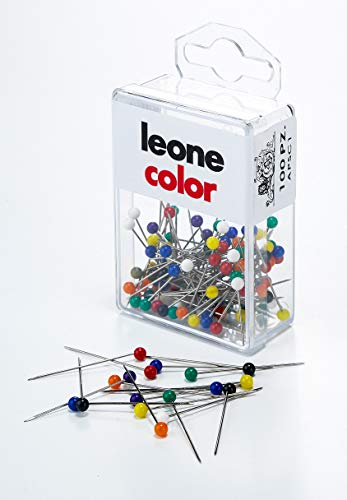 Leone Dell'Era 100 Spilli Inox con Testa di plastica Colorata (mm. 0,60 x 32) -Scatola appendibile Made in Italy, Colori Assortiti, mm.0, Pezzi