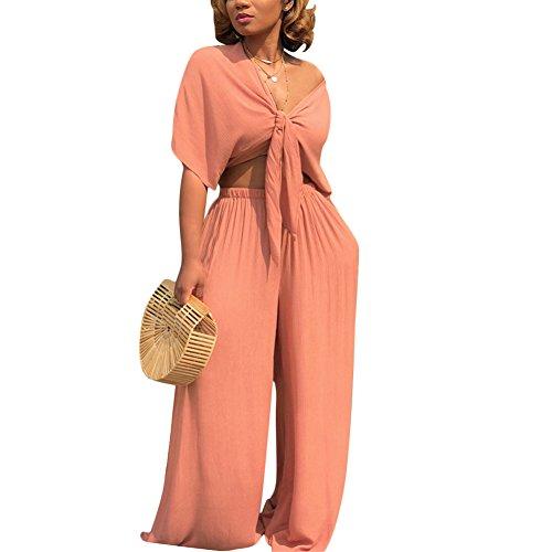 Aro Lora Women's 2 Piece Outfit Jumpsuit Short Sleeve V Neck Tie up Crop Top Wide Leg Pant Set Romper Medium Orange