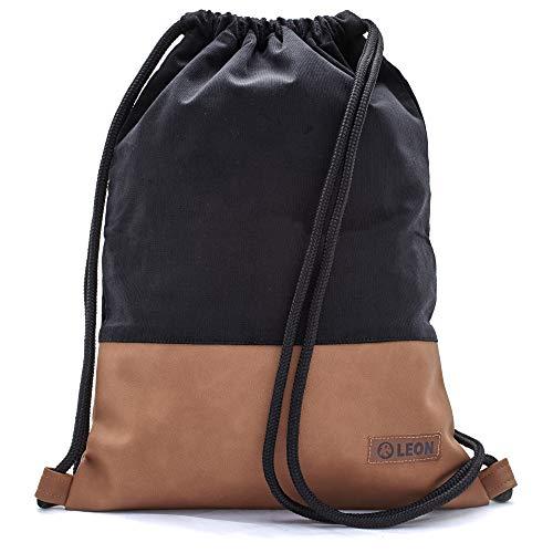 By Bers LEON Turnbeutel mit Innentaschen einfarbiges Design Rucksack Tasche Damen Herren & Teenager Gym Bag Hipster (schwarzKord_braun)